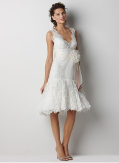 Sheath/Column V-neck Knee-Length Satin Lace Wedding Dress With Sash Beading Flower(s)
