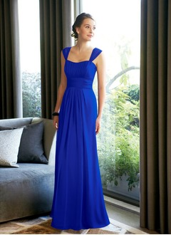 A-Line/Princess Square Neckline Floor-Length Chiffon Bridesmaid Dress With Ruffle