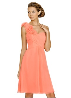A-Line/Princess Sweetheart One-Shoulder Knee-Length Chiffon Bridesmaid Dress With Ruffle Flower(s)