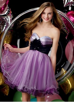 A-Line/Princess Sweetheart Short/Mini Organza Charmeuse Homecoming Dress With Sash Beading