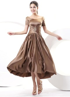 A-Line/Princess Scoop Neck Off-the-Shoulder Asymmetrical Charmeuse Mother of the Bride Dress With Ruffle Beading