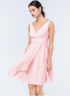 Empire V-neck Knee-Length Chiffon Bridesmaid Dress  ...