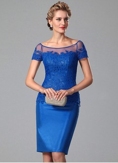 Sheath/Column Scoop Neck Knee-Length Taffeta Cocktail Dress With Appliques Lace