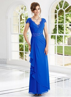 Sheath/Column V-neck Floor-Length Chiffon Evening Dress With Ruffle Lace Beading Appliques Lace