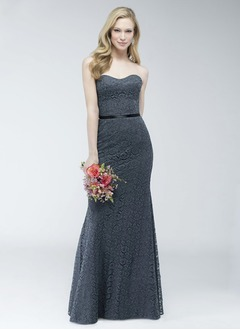 Trumpet/Mermaid Strapless Sweetheart Floor-Length Lace Bridesmaid Dress
