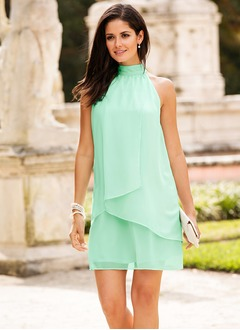 Sheath/Column Halter Short/Mini Chiffon Cocktail Dress  ...