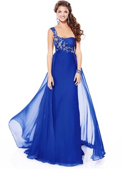 Empire One-Shoulder Sweep Train 30D Chiffon Evening Dress With Beading