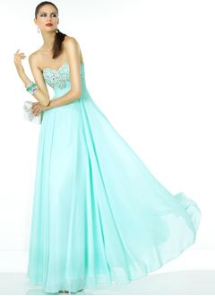 Empire Strapless Sweetheart Floor-Length Chiffon Prom Dress With Beading
