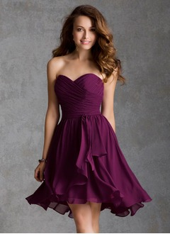 A-Line/Princess Strapless Sweetheart Asymmetrical Chiffon Bridesmaid Dress With Ruffle
