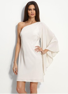 Sheath/Column One-Shoulder Short/Mini Charmeuse Cocktail Dress