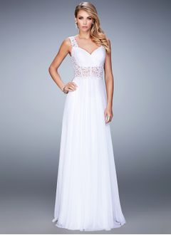 A-Line/Princess Sweetheart Floor-Length Chiffon Lace Prom Dress With Ruffle