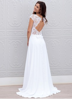 A-Line/Princess Scoop Neck Sweep Train Chiffon Lace Wedding Dress With Bow(s) (0025059917)