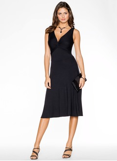 Empire V-neck Knee-Length Jersey Cocktail Dress With Ruffle