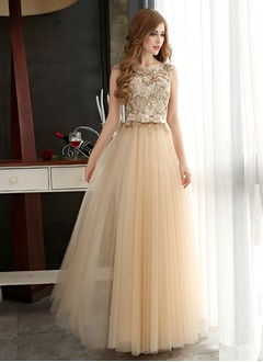 A-Line/Princess Scoop Neck Floor-Length Tulle Evening Dress With Appliques Lace Sequins