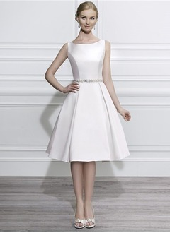 A-Line/Princess Scoop Neck Knee-Length Satin Tulle Wedding Dress With Beading Sequins