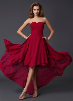 A-Line/Princess Strapless Sweetheart Asymmetrical Chiffon Prom Dress