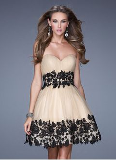 A-Line/Princess Strapless Sweetheart Short/Mini Organza Cocktail Dress With Ruffle Lace