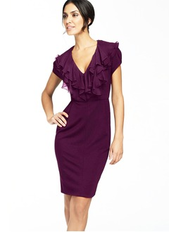 Sheath/Column V-neck Knee-Length Chiffon Cocktail Dress With Cascading Ruffles