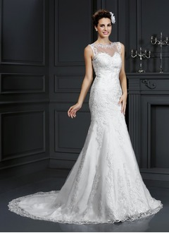 Trumpet/Mermaid Scoop Neck Court Train Satin Tulle Wedding Dress With Appliques Lace