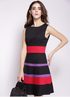 As Picture Polyester Stripe Sleeveless Above Knee Dresses