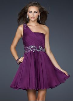 A-Line/Princess One-Shoulder Short/Mini Chiffon Prom Dress With Ruffle Appliques Lace