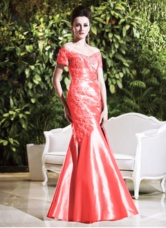 Trumpet/Mermaid Off-the-Shoulder Floor-Length Taffeta Lace Mother of the Bride Dress With Ruffle Lace Appliques Lace