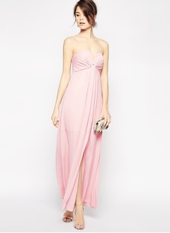 Empire Strapless Floor-Length Chiffon Evening Dress With Ruffle Split Front