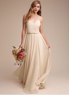 A-Line/Princess V-neck Floor-Length Chiffon Bridesmaid Dress (0075117342)