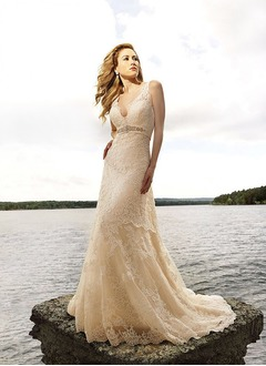 A-Line/Princess V-neck Chapel Train Lace Wedding Dress With Beading