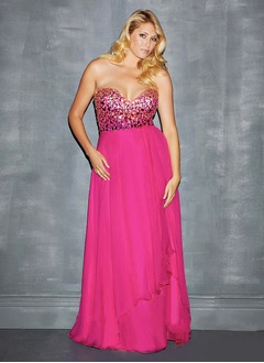 A-Line/Princess Strapless Sweetheart Sweep Train Chiffon Sequined Prom Dress With Beading