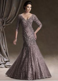 Trumpet/Mermaid V-neck Floor-Length Satin Tulle Lace Mother of the Bride Dress With Beading