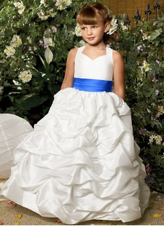 A-Line/Princess Sweetheart Floor-Length Taffeta Flower Girl Dress With Ruffle Sash