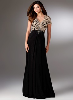 Sheath/Column V-neck Sweep Train Chiffon Mother of the Bride Dress With Lace Beading