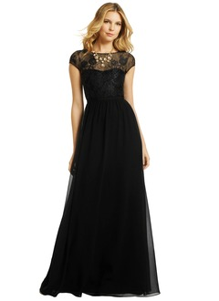 A-Line/Princess Scoop Neck Floor-Length Chiffon Tulle Evening Dress With Ruffle Lace