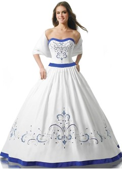 Ball-Gown Strapless Sweetheart Floor-Length Satin Quinceanera Dress With Sash Beading