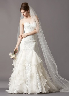 Trumpet/Mermaid Strapless Sweetheart Court Train Organza Lace Wedding Dress With Cascading Ruffles