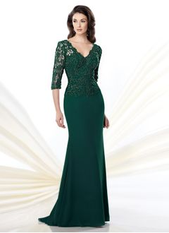 Trumpet/Mermaid V-neck Sweep Train Chiffon Mother of the Bride Dress With Beading Appliques Lace