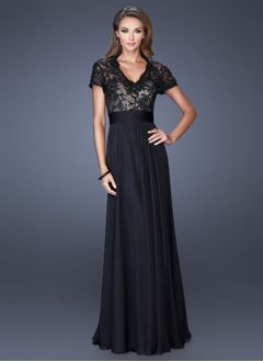 A-Line/Princess V-neck Floor-Length Chiffon Lace Evening Dress With Lace Sequins