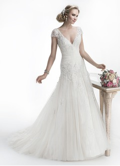 A-Line/Princess V-neck Cathedral Train Satin Tulle Wedding Dress With Ruffle Lace Beading