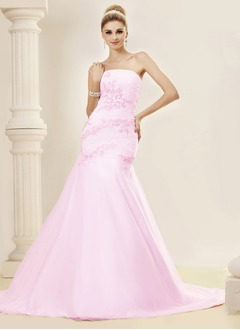 Trumpet/Mermaid Strapless Chapel Train Satin Tulle Wedding Dress With Ruffle Appliques Lace