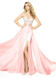 A-Line/Princess V-neck Sweep Train Chiffon Prom Dress With Lace Sequins