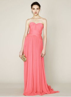 A-Line/Princess Sweetheart Sweep Train Chiffon Prom Dress With Ruffle