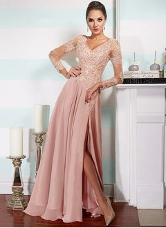 A-Line/Princess V-neck Floor-Length Chiffon Evening Dress With Lace Beading (0175090216)