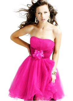 A-Line/Princess Strapless Sweetheart Short/Mini Taffeta Tulle Prom Dress With Ruffle