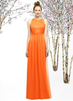 Sheath/Column Scoop Neck Floor-Length Charmeuse 30D Chiffon Prom Dress With Ruffle