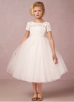 Empire Scoop Neck Knee-Length Tulle Lace Flower Girl Dress (0105108334)