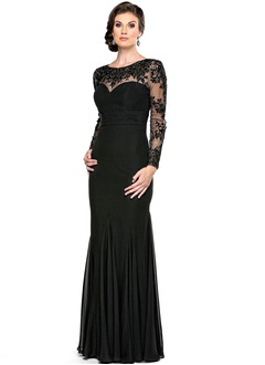 A-Line/Princess Scoop Neck Floor-Length Chiffon Mother of the Bride Dress With Ruffle Lace