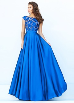A-Line/Princess Scoop Neck Floor-Length Satin Prom Dress With Appliques Lace
