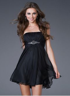 Empire Strapless Short/Mini 30D Chiffon Cocktail Dress With Ruffle Beading