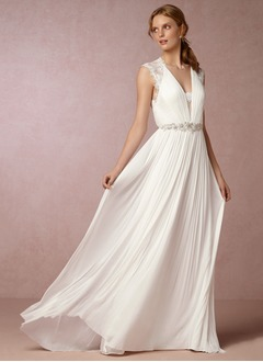 A-Line/Princess V-neck Sweep Train Chiffon Wedding Dress With Lace Sash
